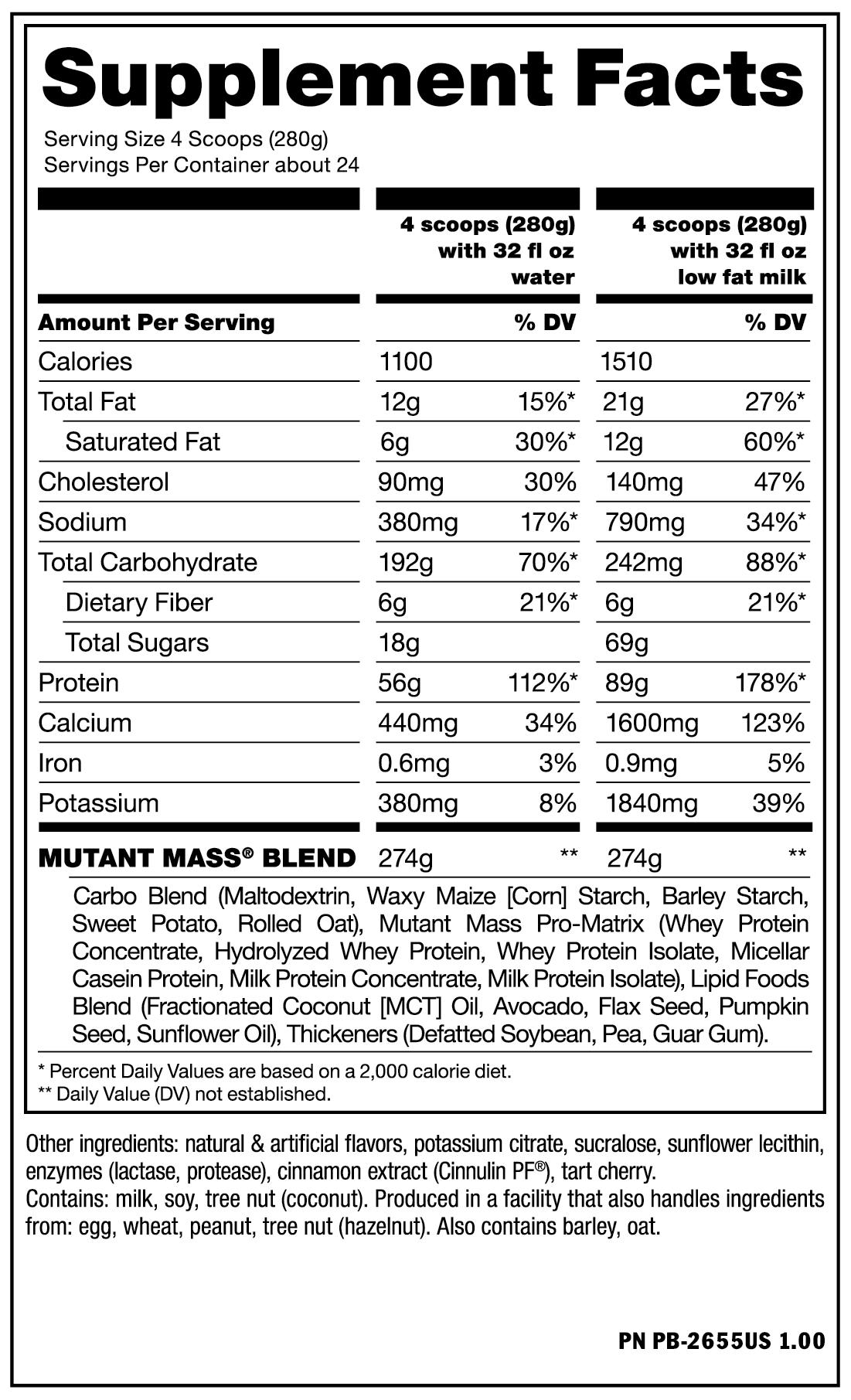 Sữa tăng cân Mutant Mass 15lbs